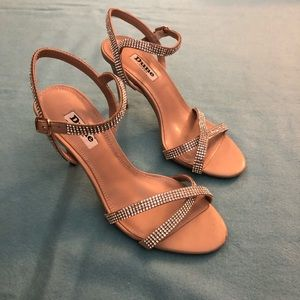 Brand New! Pink Satin Dune Heeled Sandals Sz 7